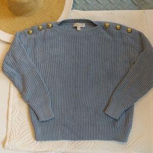 Michael Kors Oversized Blue Knit Sweater Small